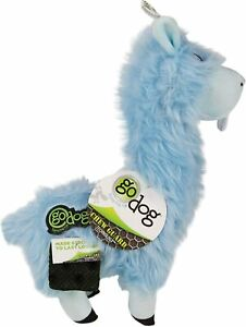 "Godog Llama Baby Blue Buck Tooth chew guard 12""x8"" plush dog toy squeaker Large"