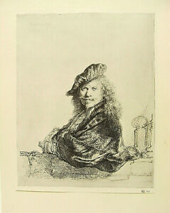 3 high quality reproductions of portrait etchings by Rembrandt, 1929