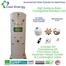 Cool Energy 250L Unvented Heat Pump Stainless Steel Hot Water Cylinder CE-HP250