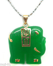 Emerald Green Jade 18K Gold Plated Carved Elephant Pendant Necklace