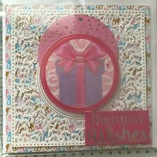 BIRTHDAY, HANDMADE SILVER, GOLD, CERISE EMBOSSED DIE CUT GIFT OR BALLOONS CARD