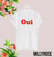 OUI RED FRENCH RETRO SLOGAN HIPSTER LADIES UNISEX POPULAR CELEB TEE T SHIRT TOP
