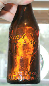 "RARE STRAIGHT SIDE AMBER COCA COLA BOTTLE  "" LOUISVILLE, KY  "" NICE """