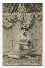 c 1910 French Nude RISQUE LADY Body Stocking Suit roto photo postcard