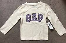 GAP- WHITE LONG SLEEVE TSHIRT WITH PURPLE LOGO ACROSS FRONT - 6-12M - BNWT