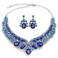YTCA31 Blue Rhinestone Crystal Silver Tone  Alloy Earrings Necklace Bridal Set