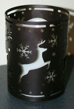 Deer & Snowflake Battery Metal Shell & Plastic Candle with Timer/On/Off