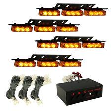 HQRP 4 paneles Luz estroboscópica 36 LED amarilla, luces de tablero, cubierta