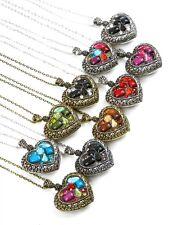 #42 Choose a Color!Heart Necklace Chain Pendant Multi,Black,Green,Brown