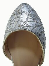 Silver Metallic Sequin Pointy Toe cut out side Ballet Flats Slippers Shoes