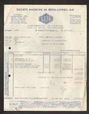 "LYON (69) USINE CIMENTERIE / BETON MANUFACTURE ""SABLA de BEON-LUYRIEU Ain"" 1957"
