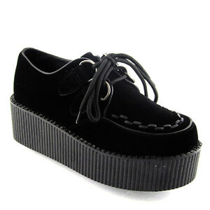 Womens Black Platform Lace Up Ladies Flats Creepers Punk Goth Shoes Size 3-8