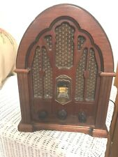 Vintage General Electric Wooden Cathedral Style AM-FM Radio Works
