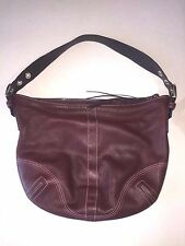 Authentic Coach model F05S-8A03 women's burgundy dark red leather shoulder bag