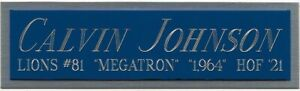 CALVIN JOHNSON DETROIT LIONS NAMEPLATE FOR AUTOGRAPHED Signed Football JERSEY