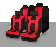 Zone Tech Universal Full Set of Red and Black Car Seat Covers Racing Style