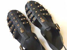 GUCCI Men's Gladiator Feline Gold Studded Rubber Sandals Size 11 G (US 11.5) *
