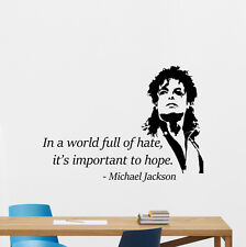 Michael Jackson Wall Vinyl Decal Music Quote Sticker Poster Decor Mural 66sss