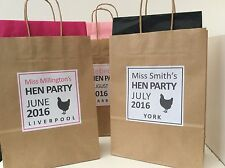 PERSONALISED BROWN KRAFT HEN PARTY BAG - with tissue paper