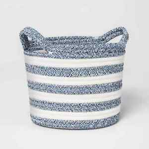 Pillowfort Coiled Rope Storage Basket Blue/White Striped