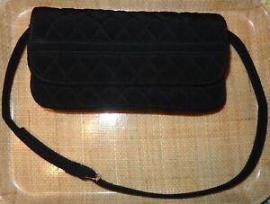 Vera Bradley QUILTED Black Microfiber Purse Handbag Detachable Strap Clutch