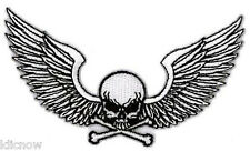 "WINGED SKULL EMBROIDERED PATCH 10.2cm x 6.5cm  (4"" X 2-1/2"")"