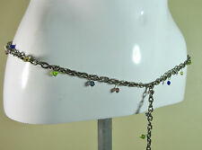 Vintage Retro effect chain belt with small multi glass resin details size L/XL