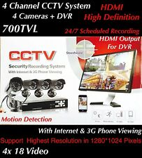 4Channel DVR Outdoor Home Video Surveillance 700TVL Camera Security System...