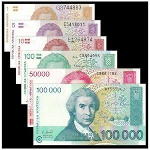 Croatia (Republika Hrvatska) Banknote 6pcs (UNC) 全新 克罗地亚 6枚(1-100000第纳尔)人物版 #1