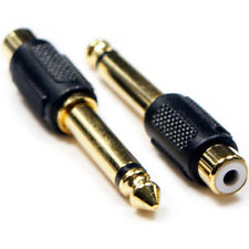 "2x 6.35mm ¼"" Mono Jack (Male) to RCA PHONO Female Adapter - Guitar Microphone"