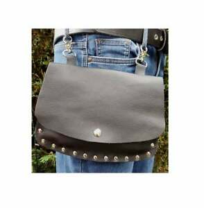 Black Leather belt pouch studded hip bag Festival purse clip on phone bum bag