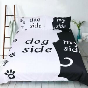 Gift Funny Dog Side My Side Paws Dog Lovers Bedding Duvet Cover Set+Pillow Case