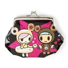 Tokidoki Coin Purse Change Bag Donutella & Ciambello Patent Black Neon Star