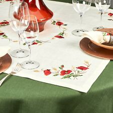 "Tablecloth Topper / Beige, Gray / Poppies / 26""x26"", 35""x35"" / 100% Linen"