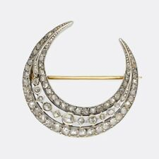Natural Diamond Moon Shape Pin Brooch 925 Sterling Silver Vintage Style Rose Cut