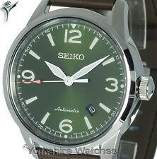 New SEIKO PRESAGE AUTOMATIC GREEN FACE WITH BROWN LEATHER BUCKLE STRAP SRPB05J1