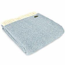 TWEEDMILL TEXTILES 100% Wool Sofa Blanket Throw BEEHIVE PETROL BLUE KNEE RUG