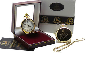 Freemason Masonic LUXURY FULL HUNTER POCKET WATCH in Gift Box CASE Any Lodge