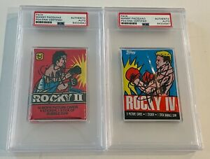 1985 Topps Rocky IV 4 Manny Pacquiao Signed Auto Wax Pack Set Of 2 PSA/DNA