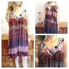 Ditsy Print Simply Fab Floaty Bead DRESS / Long TOP Size 14 16 Be Holiday Beach