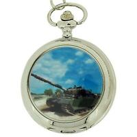 Boxx Gents White Dial Army Tank Pocket Watch on 12 Inch Chain {Boxx93}
