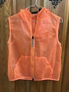 DKNY sleeveless hooded full zipper active wear light orange size L in EUC