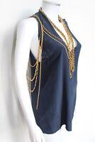 Balmain Gold Chain Silk Navy Blue Statement Top Vest Tunic F38 UK 10