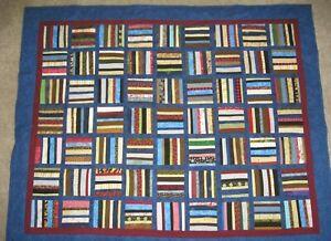 "Fun Stripes Patchwork Handmade Throw Quilt 54"" x 67"""