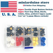 25pcs Tactile Push Button Switch Momentary Micro switch button + 25pcs Tact Caps