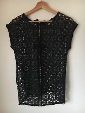 Ladies Top Size 6 Lace Black  Sheer Bow Trim Next <T15834