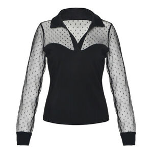 Spring Autumn New Slim Lapel Splicing Mesh Solid Color Long Sleeve Pullover New