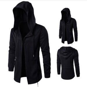 Men Hooded Jacket Long Cardigan Black Ninja Goth Gothic Punk Hoodie Coat M-5XL