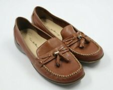 Thom McAn Womens Ladies Brown Leather Tassel Loafers Shoes Size 8W