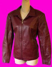 RED leather burgundy jacket 6 l coat fitted cafe racing oxblood slim 6 medium